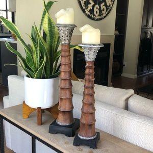 Boho Wood Ribbed Pillar Candle Holders Set of 2